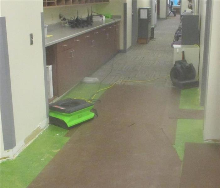 SERVPRO DRY, air movers in hallway